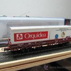 Trenes Escala: ELECTROTREN H0 1335K VAGON PORTACONTENEDORES (EDICION ESPECIAL). Lote 114984964