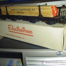 Trenes Escala: ELECTROTREN. ANTIGUO VAGÓN DOBLE PARA TRANSPORTE DE TABLONES MADERA. Lote 32577872