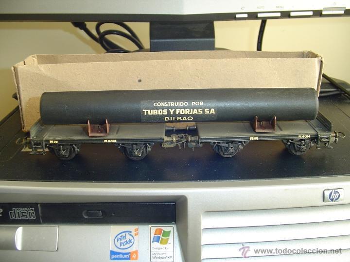 ELECTROTREN. VAGÓN DOBLE CON TUBO 1600-3. RARO (Juguetes - Trenes Escala H0 - Electrotren)