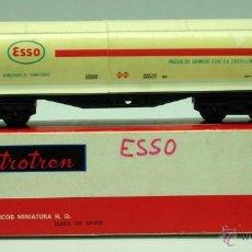 Trenes Escala: VAGÓN ELECTROTREN CISTERNA ESSO H0 AÑOS 70 CON CAJA. Lote 43311401