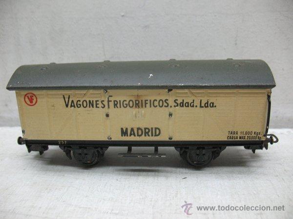 ELECTROTREN - ANTIGUO VAGÓN DE CHAPA DE MERCANCÍAS VAGONES FRIGORÍFICOS MADRID 1ª ÉPOCA - ESCALA H0 (Juguetes - Trenes Escala H0 - Electrotren)