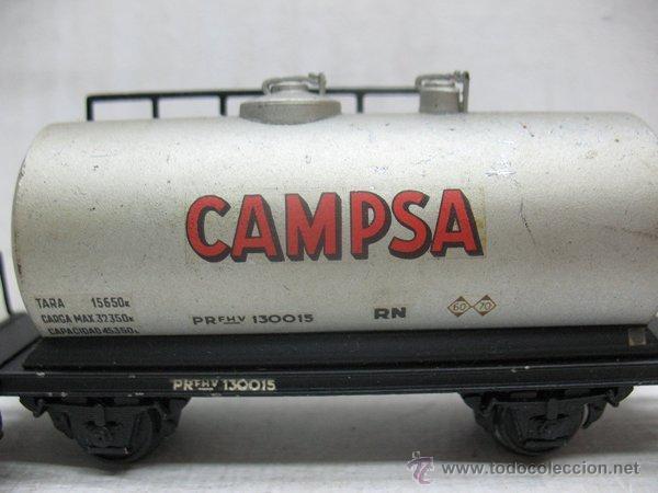 Trenes Escala: Electrotren Renfe - Antiguo vagón de chapa cisterna Campsa 1ª época - Escala H0 - Foto 2 - 43861979