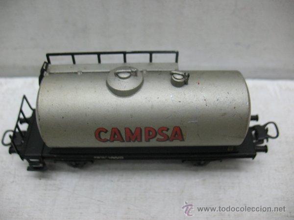 Trenes Escala: Electrotren Renfe - Antiguo vagón de chapa cisterna Campsa 1ª época - Escala H0 - Foto 3 - 43861979