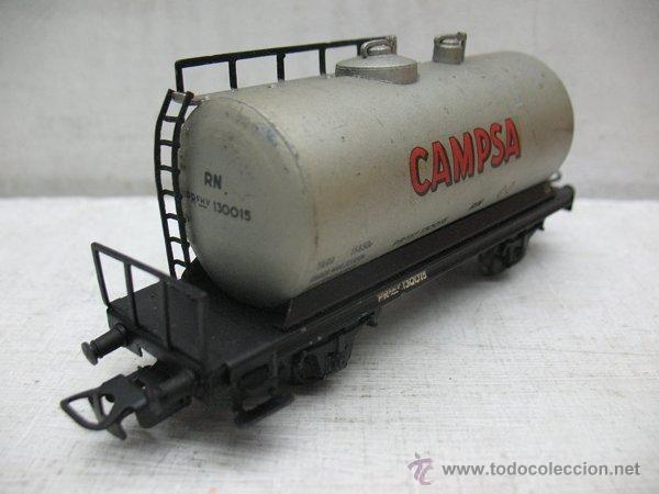 Trenes Escala: Electrotren Renfe - Antiguo vagón de chapa cisterna Campsa 1ª época - Escala H0 - Foto 4 - 43861979