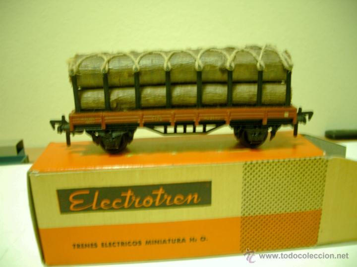 ELECTROTREN VAGON ANTIGUO TRANSPORTE DE TRONCOS EN CAJA (Juguetes - Trenes Escala H0 - Electrotren)