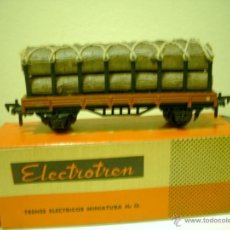 Trenes Escala: ELECTROTREN VAGON ANTIGUO TRANSPORTE DE TRONCOS EN CAJA. Lote 46241168