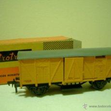 Trenes Escala: VAGON ELECTROTREN ANTIGUO MERCANCIAS EN CAJA. Lote 46241532