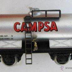 Trenes Escala: TREN VAGON ANTIGUO ELECTROTREN EN CAJA CISTERNA CAMPSA. Lote 50311006