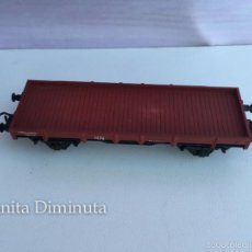 Trenes Escala: ANTIGUO VAGON DE MERCANCIAS - ELECTROTREN H0 - BORDES BAJOS - 2 EJES - COLOR MARRON ROJIZO - EN BUEN. Lote 58813676