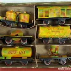 Trenes Escala: SET DE 6 VAGONES ELECTROTREN MILITAR Nº 2. HOJALATA. CAJA ORIGINAL. 1950.. Lote 68040465
