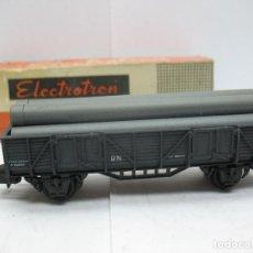 Trenes Escala: ELECTROTREN - VAGÓN DE MERCANCÍAS ABIERTO CON CARGA TUBOS RENFE - ESCALA H0. Lote 72996415