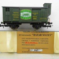 Trenes Escala: ELECTROTREN VAGON CONMEMORATIVO BAZAR MATEY 60 ANIVERSARIO WAGON CARGA CERRADO HO EDICION LIMITADA. Lote 84002356