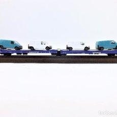 Trenes Escala: ELECTROTREN 6305 TRANSFESA PLATAFORMA FURGONETAS VOLKSWAGEN. Lote 89636824