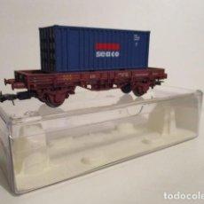 Trenes Escala: 0133-ELECTROTREN REF.1021 VAGON PLATAFORMA CON CONTENEDOR SEACO EP. IV. Lote 95690427