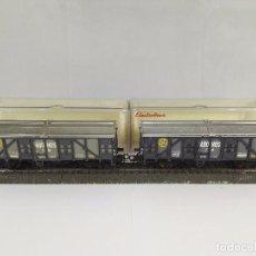 Trenes Escala: LOTE DE 2 VAGONES DE MERCANCIAS CERRADOS ABONOS CM RENFE ELECTROTREN 1404 ESCALA H0. Lote 95697143