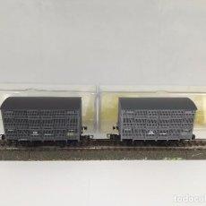Trenes Escala: LOTE DE 2 VAGONES JAULA TRANSPORTE DE GANADO RENFE ELECTROTREN 1930 B ESCALA H0. Lote 95697327