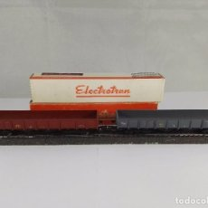 Trenes Escala: LOTE DE 2 VAGONES DE MERCANCIAS ABIERTO BORDE MEDIO RENFE ELECTROTREN 5150 5151 ESCALA H0. Lote 95701995