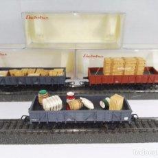 Trenes Escala: LOTE DE 3 VAGONES DE MERCANCIAS ABIERTOS BORDE MEDIO RENFE ELECTROTREN 1105 1107 1108 ESCALA H0. Lote 95703015
