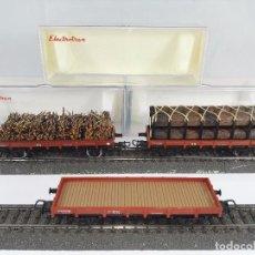 Trenes Escala: LOTE DE 3 VAGONES PLATAFORMA RENFE ELECTROTREN 1000 1005 1016 ESCALA H0. Lote 95703079