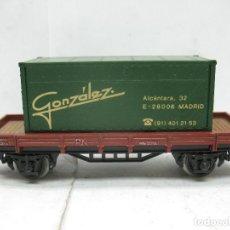 Trenes Escala: ELECTROTREN - VAGÓN DE MERCANCÍAS ABIERTO RENFE CON CARGA CON CONTAINER GONZÁLEZ - ESCALA H0. Lote 96165071