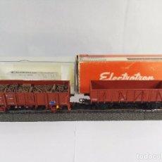Trenes Escala: LOTE DE 2 VAGONES DE MERCANCIAS ABIERTOS BORDE MEDIO RENFE ELECTROTREN 1200 1252 ESCALA H0. Lote 97839235