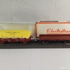 Trenes Escala: LOTE DE 2 VAGONES DE MERCANCIAS BORDE BAJO RENFE ELECTROTREN 1000 1022 ESCALA H0. Lote 97839555