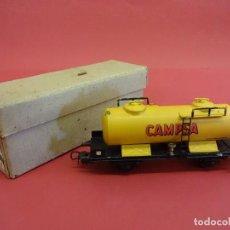 Trenes Escala: ELECTROTREN HO. VAGÓN CAMPSA AMARILLO. EN CAJA ORIGINAL. ANTIGUO. Lote 98209219