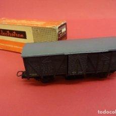 Trenes Escala: ELECTROTREN HO. VAGÓN TRANSPORTE CON PUERTAS CORREDERAS Y CAJA ORIGINAL. ANTIGUO. Lote 98210643