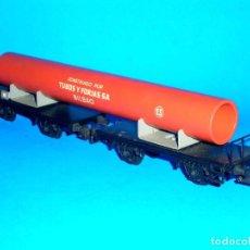 Trenes Escala: VAGÓN DOBLE 1600/2, TUBOS Y FORJAS S.A. BILBAO, METAL ESC. H0, ELECTROTREN MADRID, AÑOS 60. CON CAJA. Lote 99475863