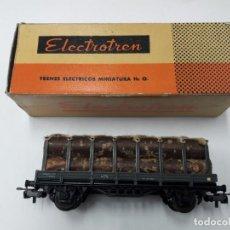 Trenes Escala: ELECTROTRÉN ANTIGUO VAGÓN TRANSPORTE DE TRONCOS, BUEN ESTADO. CON CAJA. H0. Lote 109243631