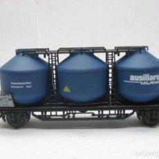 Trenes Escala: ELECTROTREN REF: 1603 - VAGÓN DE MERCANCÍAS CON TRES DEPÓSITOS AUSILIARE MILANO DE LA FS - ESCALA H0. Lote 109257503