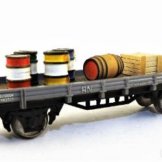 Trenes Escala: ELECTROTREN . VAGÓN PLATAFORMA CON CARGA. Lote 121124083