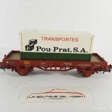 Trenes Escala: VAGON MERCANCIAS BORDE BAJO CON CONTAINER TRANSPORTES POU PRAT SA RENFE ELECTROTREN 1021 ESCALA H0. Lote 124494835