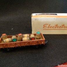 Trenes Escala: VAGÓN ELECTROTREN MERCANCIA BARRILES. Lote 128647639