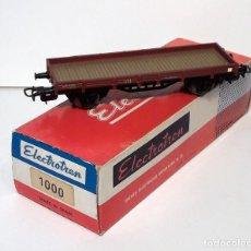 Trenes Escala: ELECTROTREN H0 1000 - VAGÓN DOS EJES PLATAFORMA MARRÓN. Lote 128726139