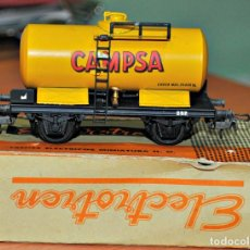 Trenes Escala: VAGÓN CISTERNA CAMPSA AMARILLO METÁLICO DE ELECTROTREN, REF. 807/1. RARO, AÑOS 50. ESCALA HO. Lote 129237239