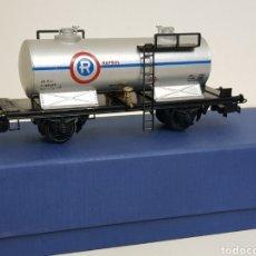 Trenes Escala: ELECTROTREN RENFE H0 REPSOL VAGON CISTERNA ANTIGUO ESCALA H0 GRIS SIMBOLOGÍA ANTIGUA. Lote 134763241