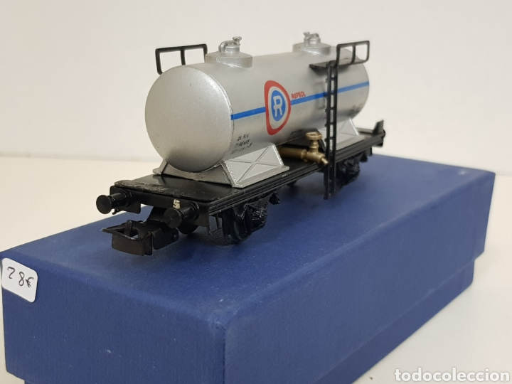 Trenes Escala: Electrotren renfe H0 Repsol vagon CISTERNA antiguo escala H0 gris simbología antigua - Foto 2 - 244545920