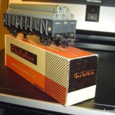 Trenes Escala: ELECTROTREN H0. VAGÓN CON CARGA DE TUBOS. Lote 140719122