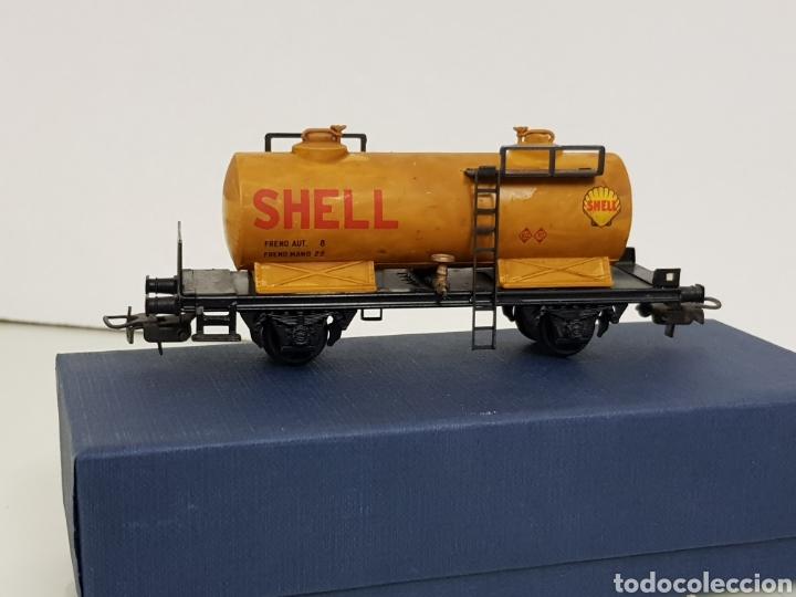 Trenes Escala: Renfe Electrotren antiguo escala H0 vagon cisterna Shell de 13 cm - Foto 3 - 142157350