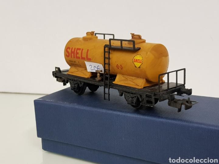 Trenes Escala: Renfe Electrotren antiguo escala H0 vagon cisterna Shell de 13 cm - Foto 2 - 142157350