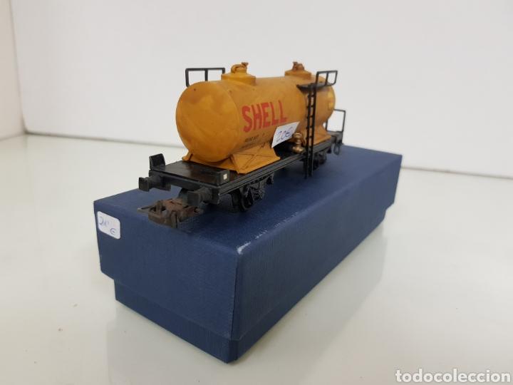 Trenes Escala: Renfe Electrotren antiguo escala H0 vagon cisterna Shell de 13 cm - Foto 4 - 142157350