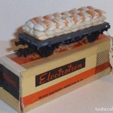 Trenes Escala: 0140-ELECTROTREN 1014 PLATAFORMA SACOS ALUBIAS LÓPEZ H0 - 1/87. Lote 143105246