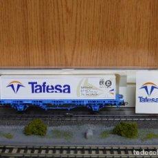 Trenes Escala: ELECTROTREN H0 VAGÓN PLATAFORMA CARGADO CON UN CONTENEDOR DE 40 PIES, DE TAFESA, REFERENCIA 1558.. Lote 143166786
