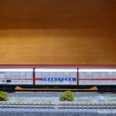 Trenes Escala: ELECTROTREN H0 VAGÓN CERRADO DE PAREDES DESLIZANTES, DE TRANSFESA, REFERENCIA 5500. Lote 143168046
