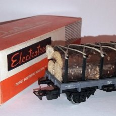 Trenes Escala: ELECTROTREN H0 1005 - VAGÓN RN DOS EJES TELEROS CON TRONCOS MADERA. Lote 151057436