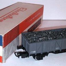 Trenes Escala: ELECTROTREN H0 1201 - VAGÓN RN DOS EJES BORDES BAJOS GRIS CON CARGA CARBÓN. Lote 151161552