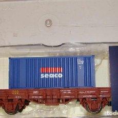 Trenes Escala: VAGON PLATAFORMA CON CONTENEDOR RENFE DE ELECTROTREN ESCALA H0 REF.: 1021. Lote 151418506