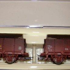Trenes Escala: SET 2 VAGONES X RENFE UNIFICADO CON CARGA DE CARBON ENVEJECIDOS REF.: 1988. Lote 245625415