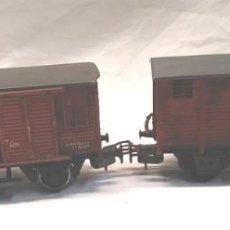 Trenes Escala: 2 VAGÓNES DE CARGA ELECTROTREN H0, EFECTO ANTIGUO. Lote 155004846